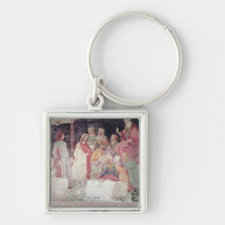 Young Man Greeted by Seven Liberal Arts Silver-Colored Square Keychain