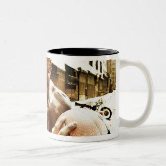 Young man holding basketball Two-Tone coffee mug