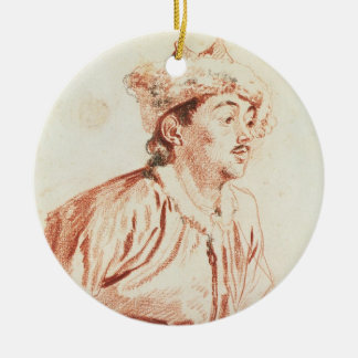 Young Man in Oriental Costume (drawing) Ceramic Ornament