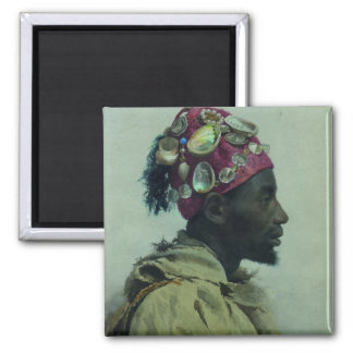 Young Man in Profile (Profil aux coquillages) 2 Inch Square Magnet