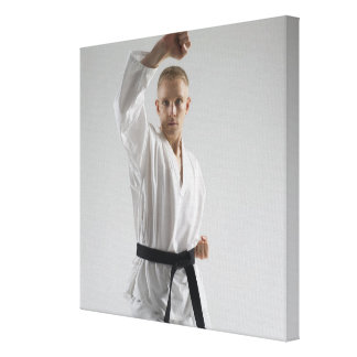 Young man performing karate stance on white gallery wrapped canvas