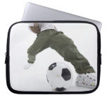 Young man playing soccer 2 computer sleeves