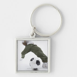 Young man playing soccer 2 keychain