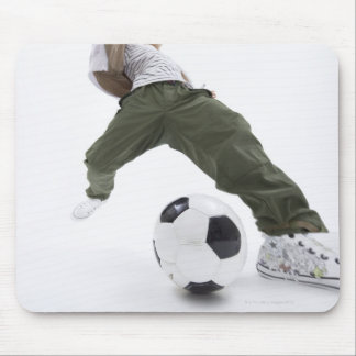 Young man playing soccer 2 mouse pad