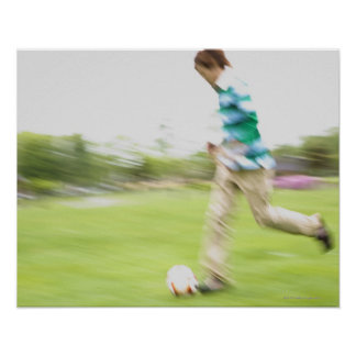 Young Man Playing Soccer Poster