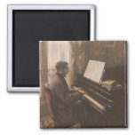 Young Man Playing the Piano by Gustave Caillebotte Fridge Magnet