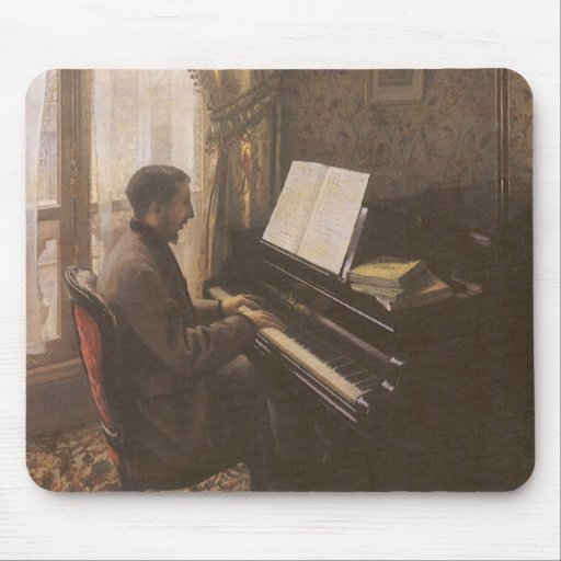 Young Man Playing the Piano by Gustave Caillebotte Mouse Pads