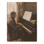 Young Man Playing the Piano by Gustave Caillebotte Post Card