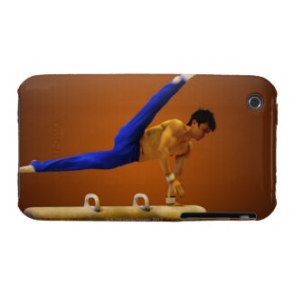 Young man practicing gymnastics on the pommel Case-Mate iPhone 3 case