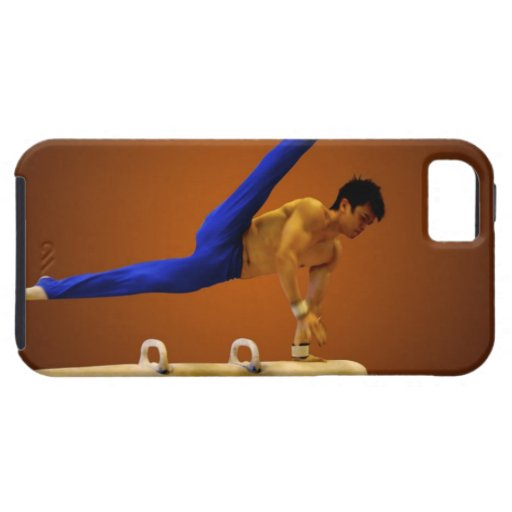 Young man practicing gymnastics on the pommel iPhone SE/5/5s case