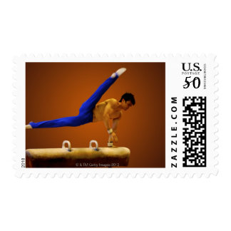 Young man practicing gymnastics on the pommel postage
