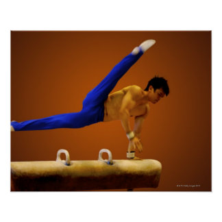 Young man practicing gymnastics on the pommel poster