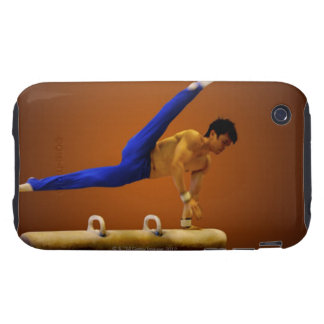 Young man practicing gymnastics on the pommel tough iPhone 3 cover