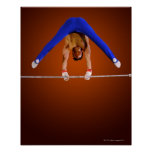 Young man practicing on the horizontal bar poster