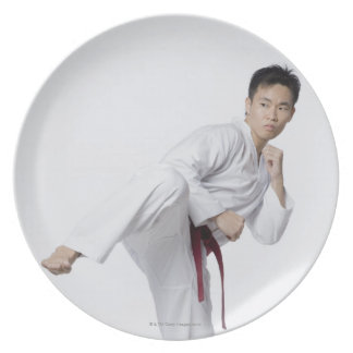 Young man practicing side kick melamine plate