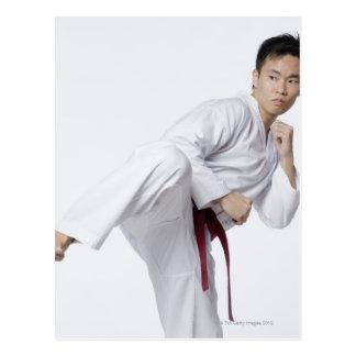 Young man practicing side kick postcard