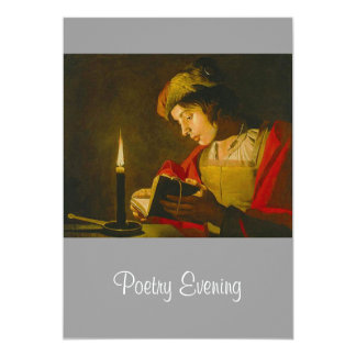 Young man reading by candlelight card