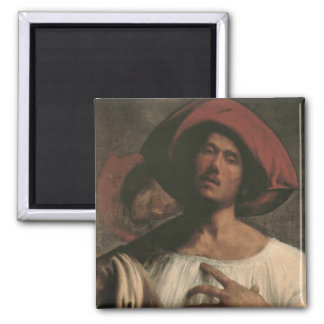 Young Man Singing 2 Inch Square Magnet