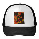 young man sitting on a garden wall trucker hats