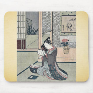 Young man striking a drum by Suzuki, Harunobu Mouse Pad