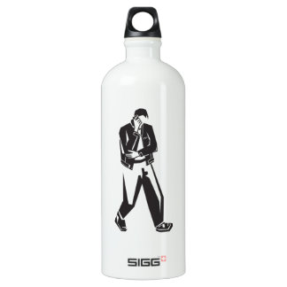 young man talking on a cell phone  while walking water bottle
