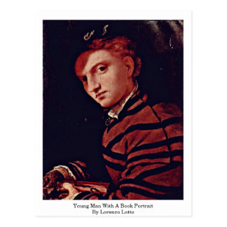 Young Man With A Book Portrait By Lorenzo Lotto Postcard