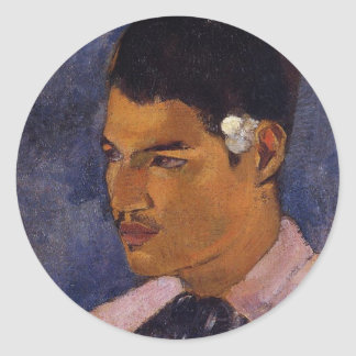 'Young Man With a Flower' - Paul Gauguin Classic Round Sticker