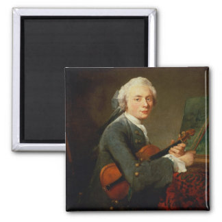 Young Man with a Violin 2 Inch Square Magnet