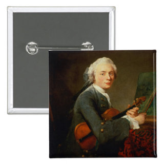 Young Man with a Violin 2 Inch Square Button