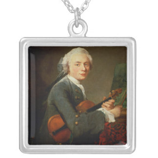 Young Man with a Violin Square Pendant Necklace