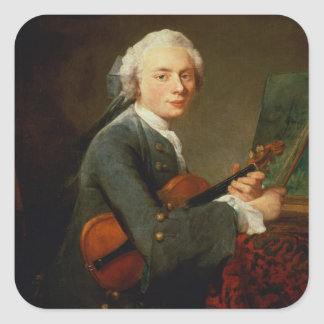 Young Man with a Violin Square Sticker