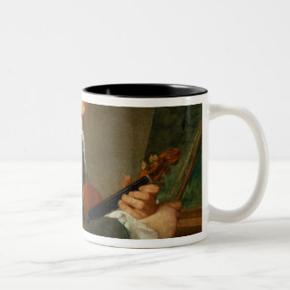 Young Man with a Violin Two-Tone Coffee Mug