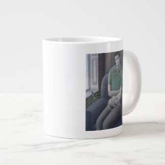 Young Man with Cat 2008 Large Coffee Mug