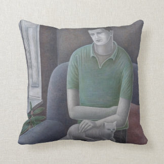 Young Man with Cat 2008 Throw Pillow