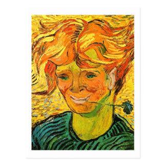 Young Man with Cornflower Van Gogh Fine Art Postcard