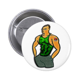 Young Man with Heart and Anchor Tattoo Print Pinback Buttons
