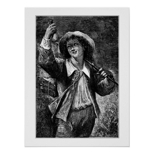 Young man with purse poster