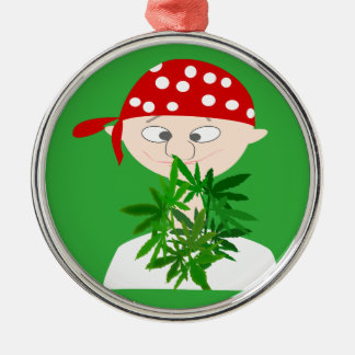 Young Man with Weed Bouquet Personalized Metal Ornament