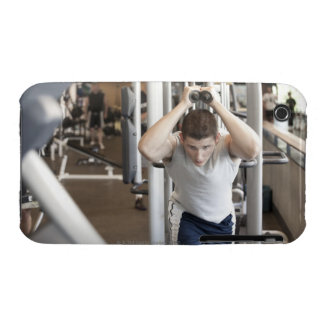 Young man working out his triceps on a cable iPhone 3 Case-Mate case
