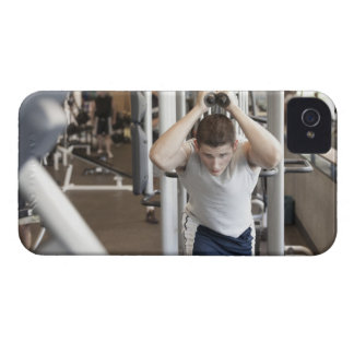 Young man working out his triceps on a cable iPhone 4 Case-Mate case