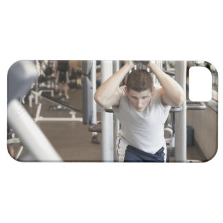 Young man working out his triceps on a cable iPhone SE/5/5s case