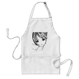 Young Manga Schoolgirl Pinup Art of Children Adult Apron