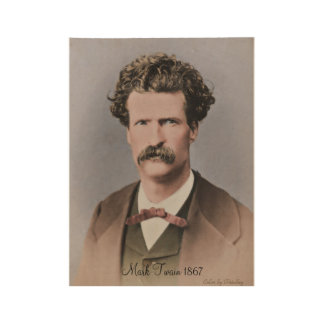 Young Mark Twain Wood Poster