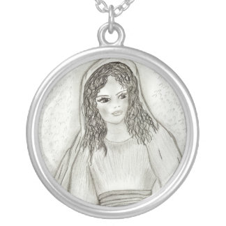 Young Mary II Round Pendant Necklace