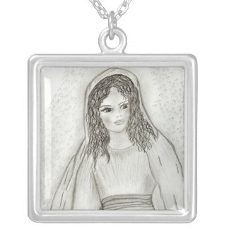 Young Mary II Square Pendant Necklace