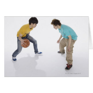 Young men playing basketball card