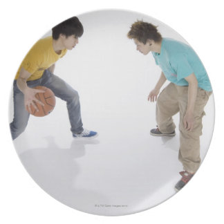 Young men playing basketball melamine plate