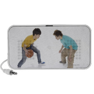Young men playing basketball mp3 speakers