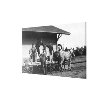 Young Men Posing on a Mule Wagon Gallery Wrapped Canvas