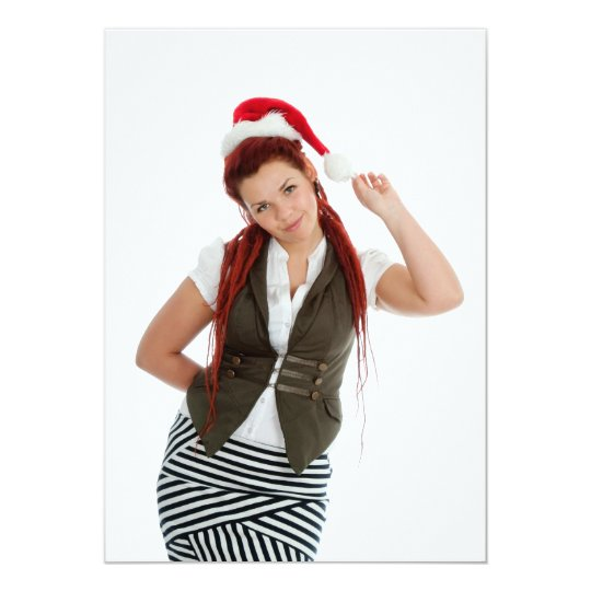 Young modern christmas girl on white background. card